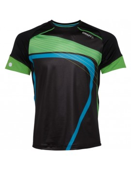 CRAFT PR 21.1 RUNNING TEE BLACK AND GREEN FOR MEN'S