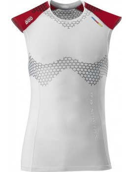 SALOMON EXO S-LAB TANK WHITE, GREY AND RED FOR MEN'S