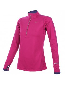 NIKE RUNNING ELEMENT MIDLAYER HALF ZIP PINK FOR WOMEN'S