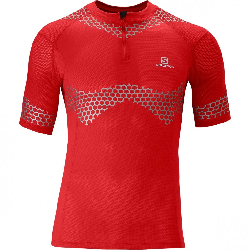 Trail firness specialist salomon exo s lab zip tee red for Tech shirts running wholesale
