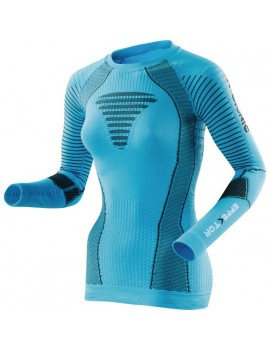 RUNNING SHIRT WITH LONG SLEEVE X-BIONIC EFFEKTOR BLACK AND BLUE FOR WOMEN'S