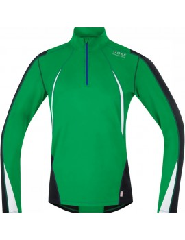 GORE RUNNING WEAR AIR THERMO ZIP MIDLAYER GREEN FOR MEN'S