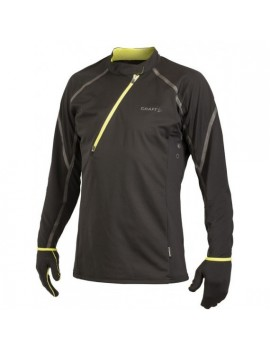 CRAFT ELITE RUN WIND JERSEY BLACK AND YELLOW FOR MEN'S