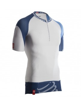 COMPRESSPORT UTMB TRAIL 1/2 ZIP SHIRT WHITE AND BLUE FOR MEN'S