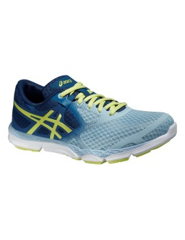 RUNNING SHOES ASICS 33-DFA GREY, BLUE AND YELLOW FOR WOMEN'S