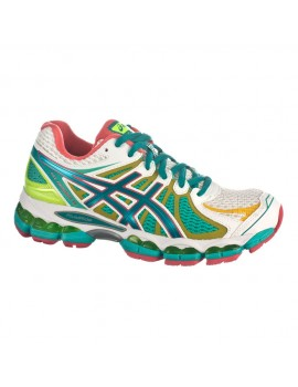 RUNNING SHOES ASICS GEL NIMBUS 15 LITE-SHOW WHITE AND GREEN FOR WOMEN'S
