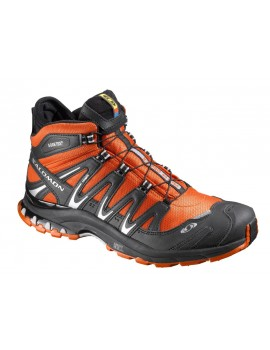 HIKING SHOES SALOMON XA PRO 3D MID GTX BLACK AND ORANGE FOR MEN'S