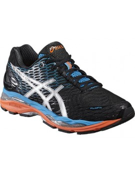 RUNNING SHOES ASICS GEL NIMBUS 18 BLACK, BLUE AND ORANGE FOR MEN'S