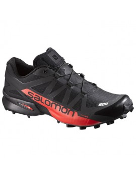TRAIL RUNNING SHOES SALOMON S-LAB SPEEDCROSS BLACK AND RACING RED FOR MEN'S