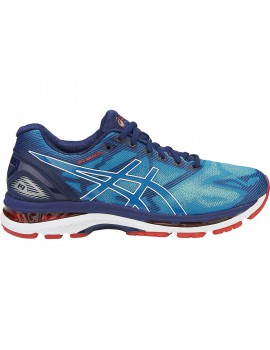 RUNNING SHOES ASICS GEL NIMBUS 19 BLUE AND WHITE FOR MEN'S