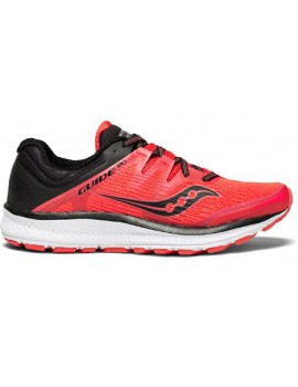 SAUCONY GUIDE ISO RUNNING SHOES VIZI RED AND BLACK FOR WOMEN'S
