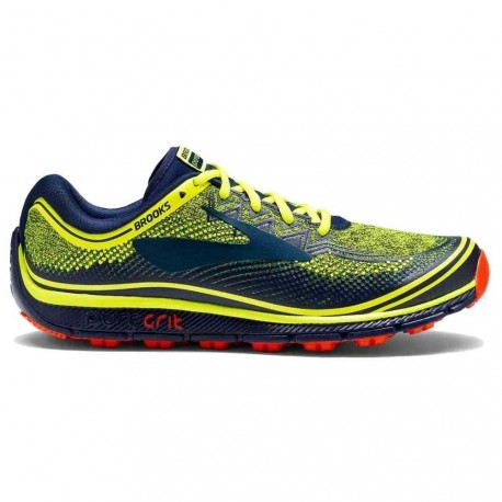 TRAIL RUNNING SHOES BROOKS PUREGRIT 6 NIGHTLIFE, NAVY AND ORANGE FOR MEN'S