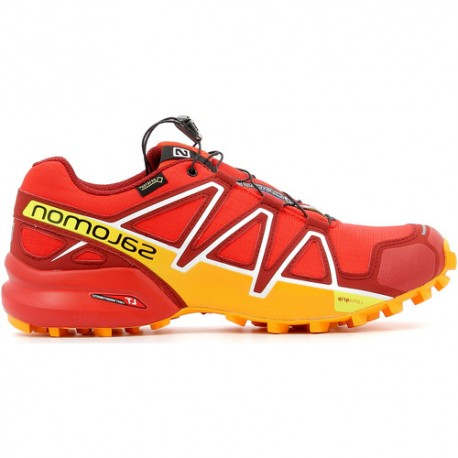 new concept c521e 875d5 TRAIL RUNNING SHOES SALOMON SPEEDCROSS 4 GTX RED AND YELLOW FOR MEN'S -  Running Discount