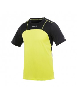 CRAFT PEFORMANCE RUN LIGHT TEE BLACK AND YELLOW FOR MEN'S