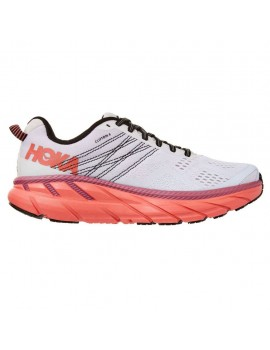 RUNNING SHOES HOKA ONE ONE CLIFTON 6 WHITE AND PINK FOR WOMEN'S