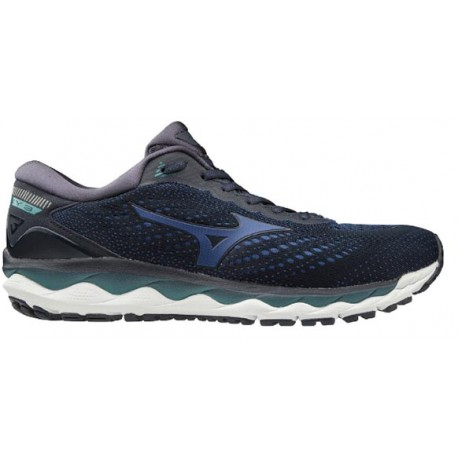 RUNNING SHOES MIZUNO WAVE SKY 3 BLACK AND BLUE FOR MEN'S