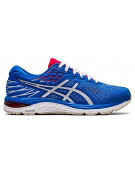 RUNNING SHOES ASICS GEL CUMULUS 21 ELECTRIK BLUE AND WHITE FOR MEN'S