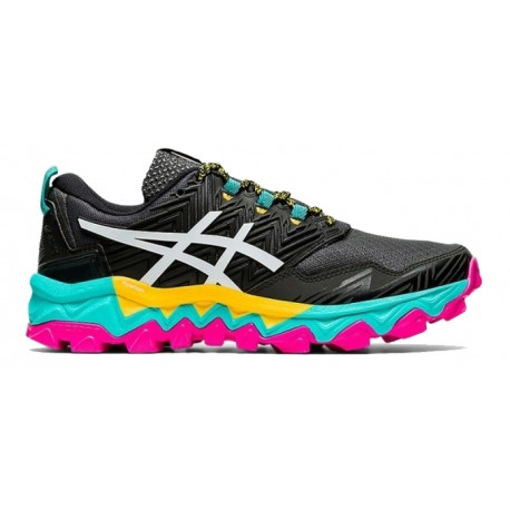 TRAIL RUNNING SHOES ASICS GEL FUJITRABUCO 8 BLACK AND BLUE FOR WOMEN'S