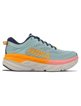 RUNNING SHOES HOKA ONE ONE BONDI 7 BLUE AND ORANGE FOR WOMEN'S