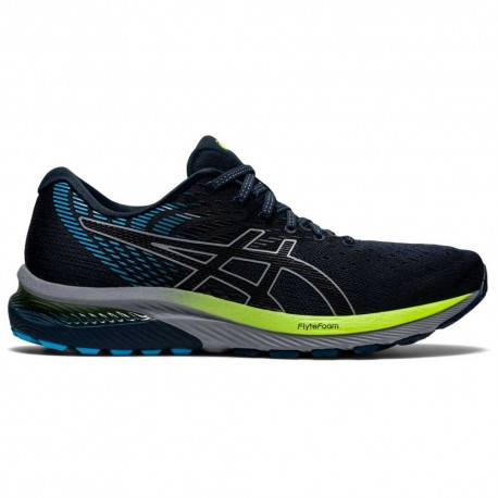 RUNNING SHOES ASICS GEL CUMULUS 22 BLACK AND BLUE FOR MEN'S