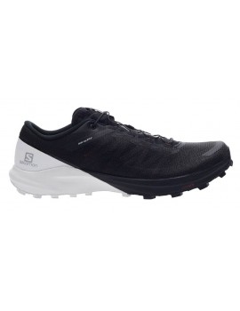 TRAIL RUNNING SHOES SALOMON SENSE 4 PRO BLACK AND WHITE FOR MEN'S
